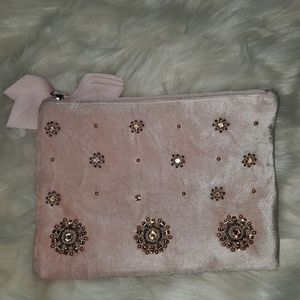 Nwot velvet jeweled blush clutch